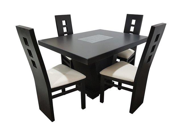 Comedor escocia cuadrado 4 sillas muebles laffayette for Comedor cuadrado 6 sillas