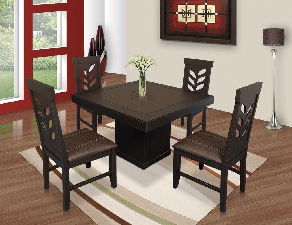 Comedor flor cuadrado 4 sillas muebles laffayette for Comedores de madera baratos