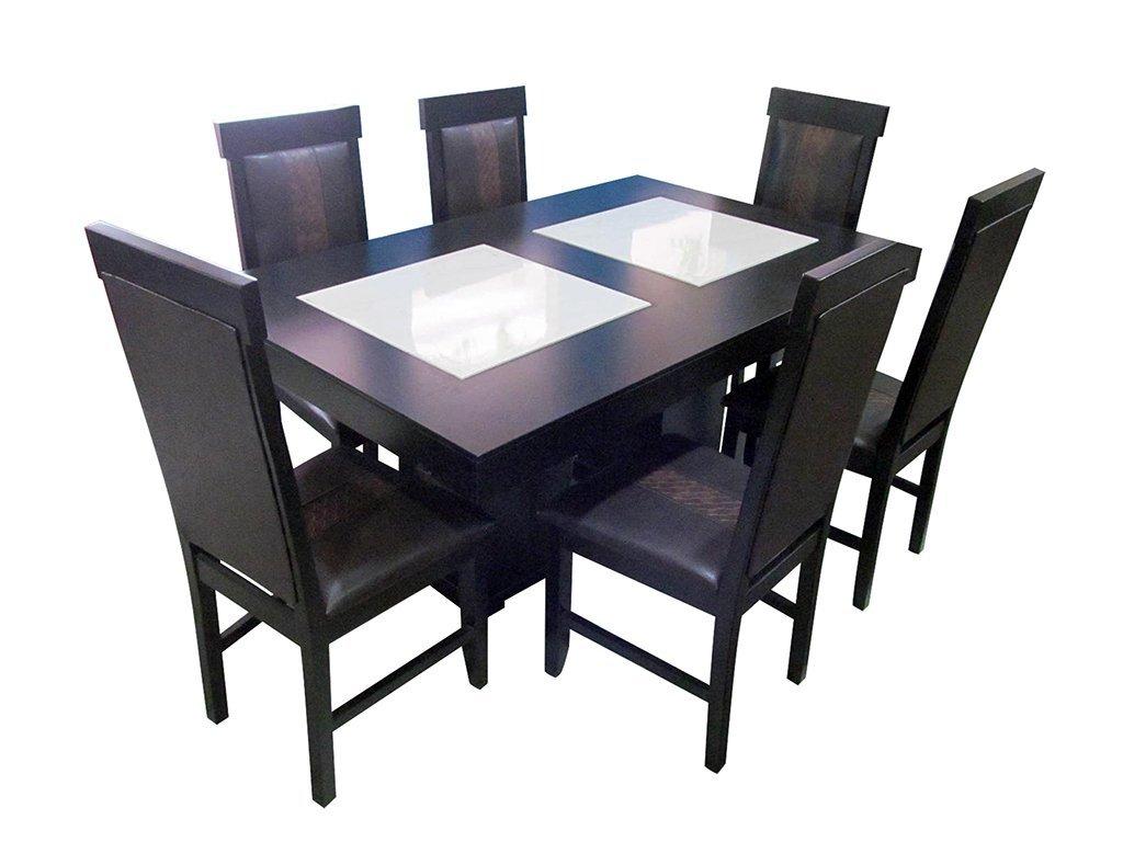 Comedor porcelanato rectangular 6 sillas for Sillas apilables comedor