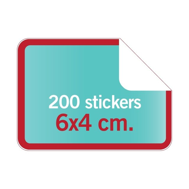 6x4 cm. > Stickers rectangulares con forma