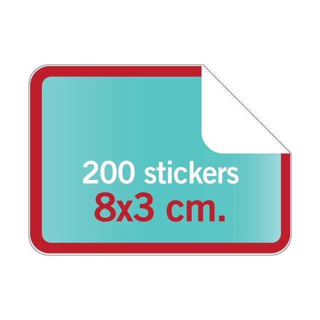 8x3 cm. > Stickers rectangulares con forma