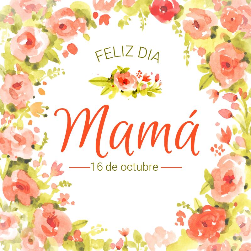 Mama Flores Naranja Cartel En Vinilo Dia De La Madre