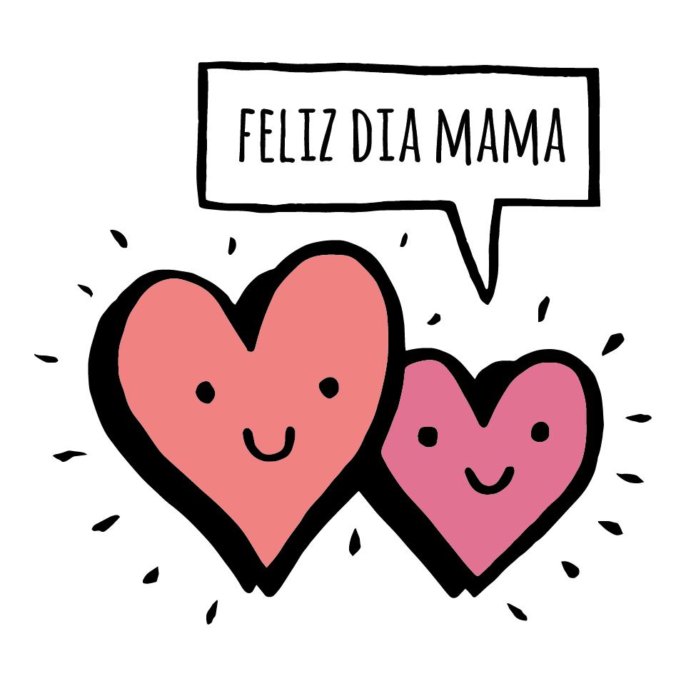 Dos Corazones Mamá Cartel En Vinilo Día De La Madre