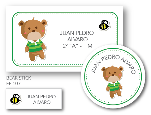 Bear Stick - Etiquetas Escolares