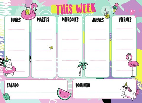 Pizarra Semanal Unicornio This Week
