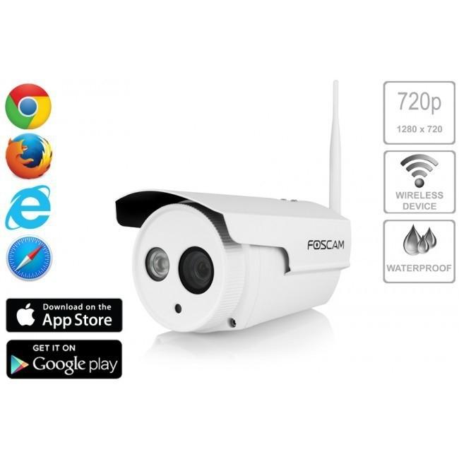Camara ip exterior wifi hd 720p 1mp p2p foscam fi9803p - Camara ip wifi exterior ...