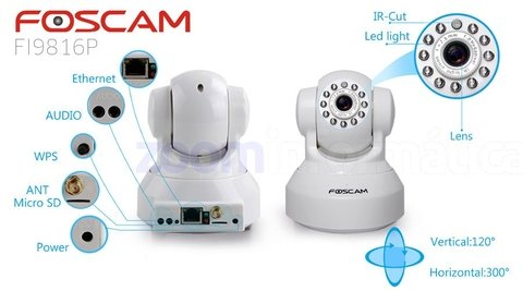 Camara Domo IP Interior PTZ WIFI HD 720p 1MP P2P - FOSCAM FI9816P en internet