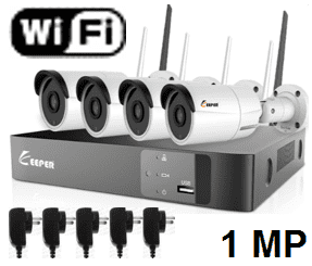 Kit de Vigilancia IP WIFI, NVR WIFI + 4 Camaras IP WIFI 1MP