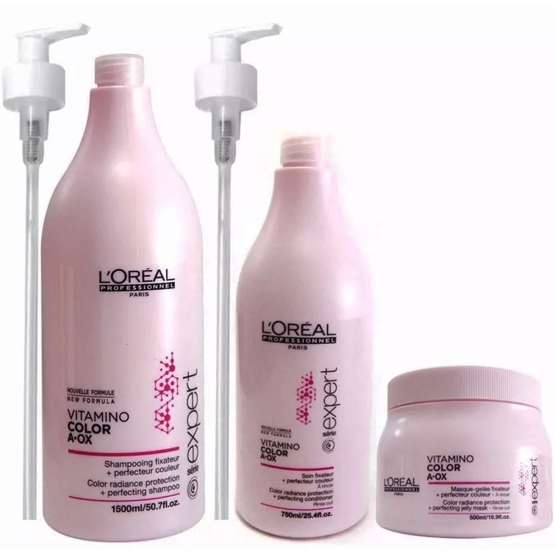 Shampoo x 1500 Ml + Acondicionador x 750 Ml + Máscara x 500 Ml Vitamino Color - Loreal Professionnel