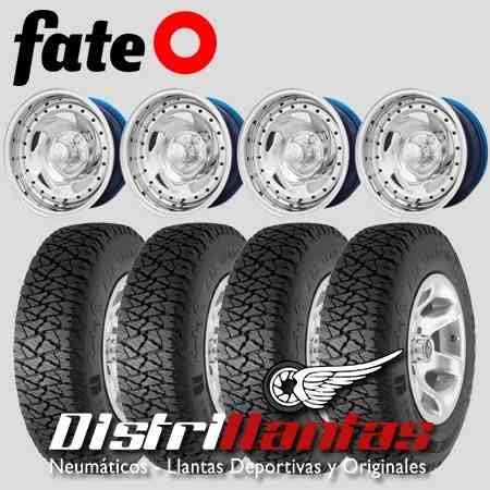 Kit 4 Llantas Chapa Cromadas 15x7 + Fate At 235 75 R15