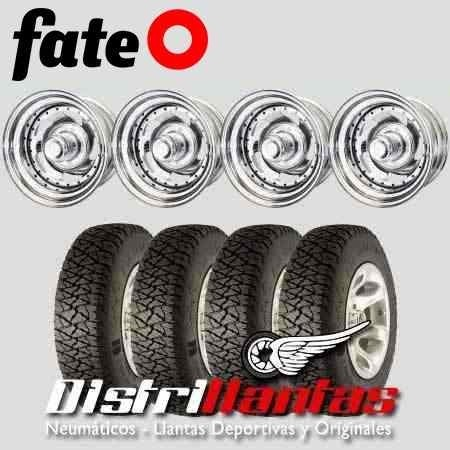 Kit 4 Llantas Chapa Cromadas 15x8 + Fate At 31x10.5 R15