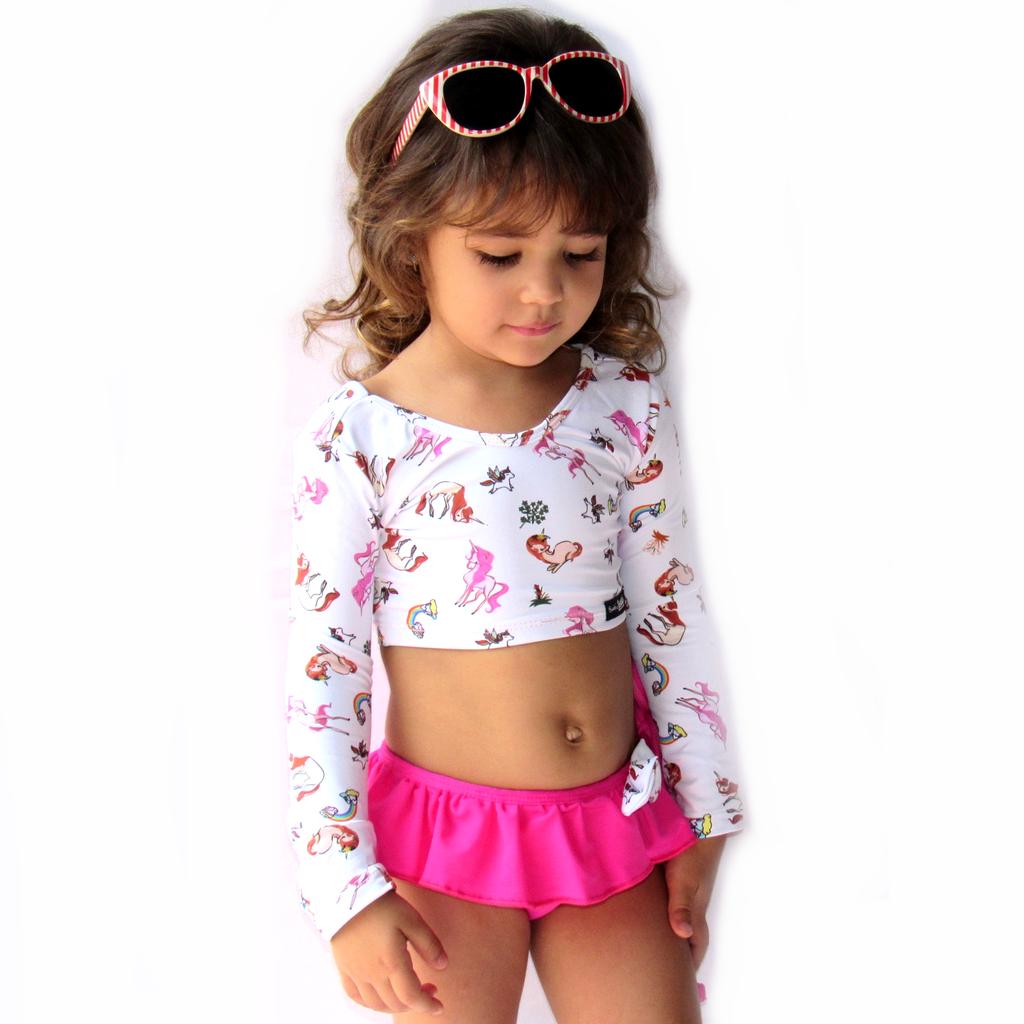 4b9a9aad56fd Biquíni Infantil Cropped Manga Longa Unicórnio Branco com Rosa proteção UV.  1