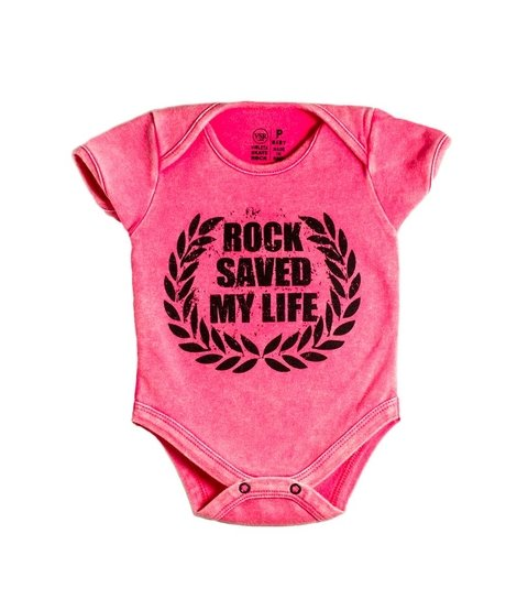 Body Bebê VSR Rock Saved My Life Rosa Estonado