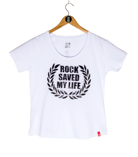 Camiseta VSR Rock Saved My Life - Feminino Comfort Branca