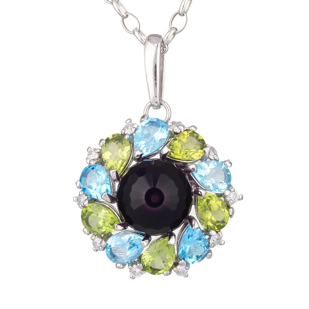 Marigold Pendant designed with sterling silver and colorful crystals
