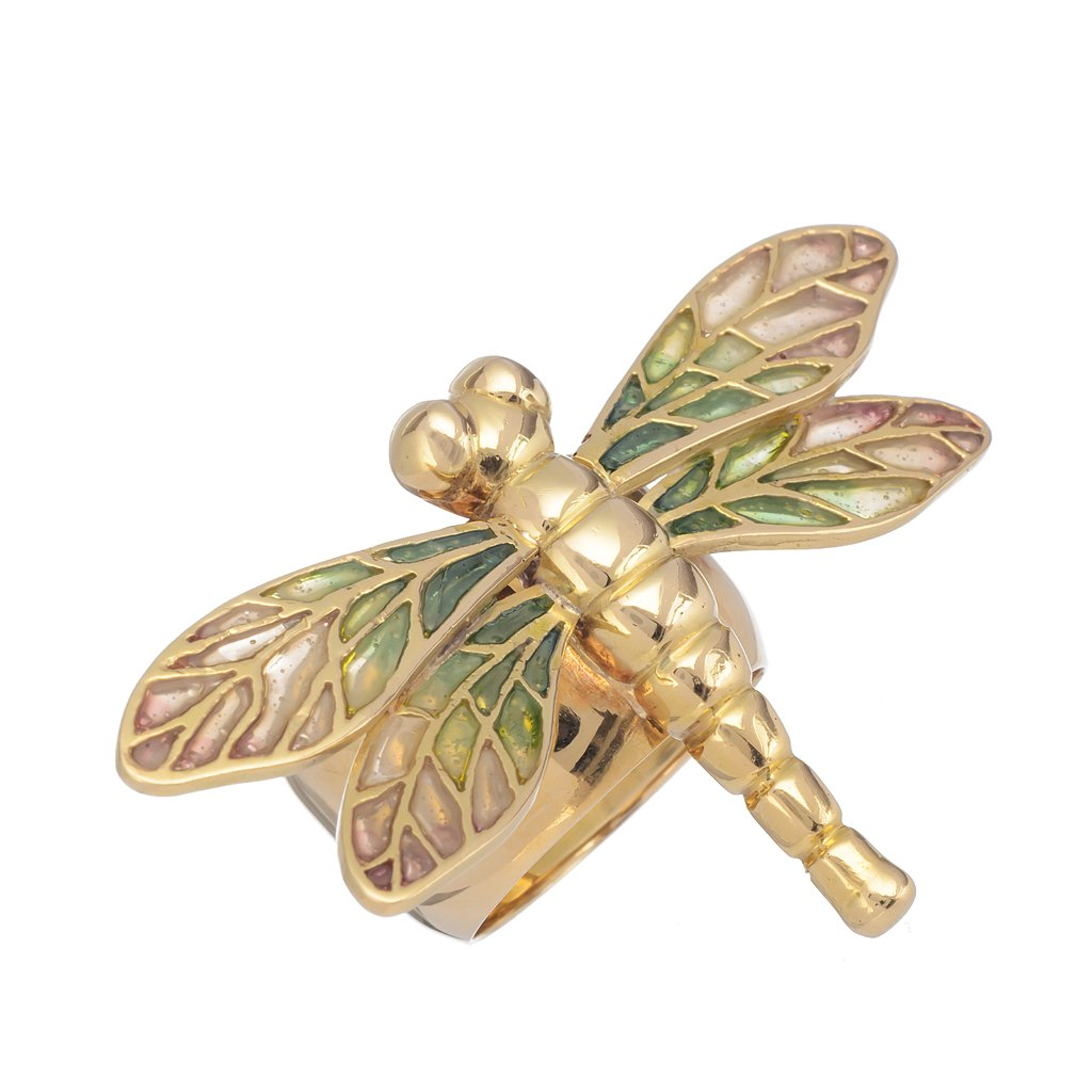 Bright Dragonfly Ring, 18 kt gold with enamel technique plique-a-jour