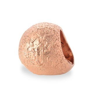 Sterling Silver Cracked Sphere Ring plated in Rose Gold