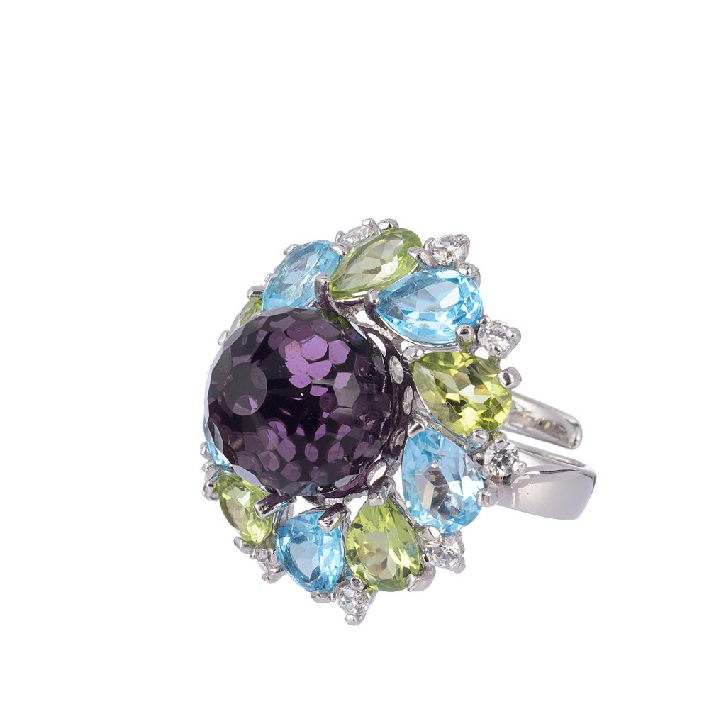 Multicolored Marigold Ring - Sterling silver with light blue crystal