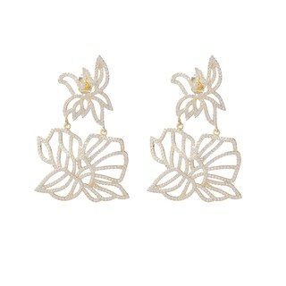 Camellia earrings in Sterling silver designed with yellow gold and pave of white crystals