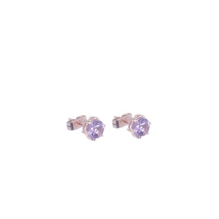 18 Kt Gold Amethyst and Rose Solitaire Earrings - buy online