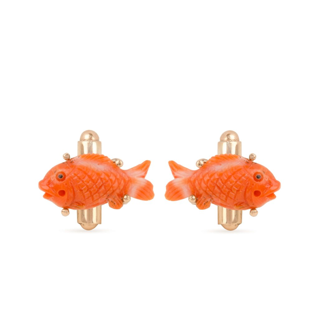 18 Kt Rose Gold Coral Fish Cufflinks