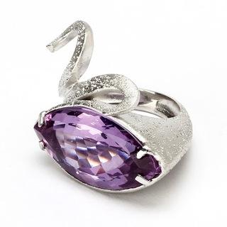 Swan Ring - Diamond dusted sterling silver with violet crystal