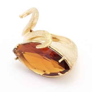 Swan ring - Diamond dusted sterling silver in gold plating with amber crystal