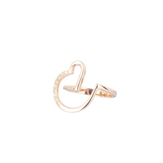 18 Kt Rose Gold Heart Ring designed with diamonds - buy online