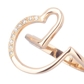 18 Kt Rose Gold Heart Ring designed with diamonds