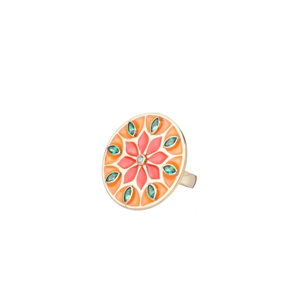 Orange Citric Sunflower Mandala Ring