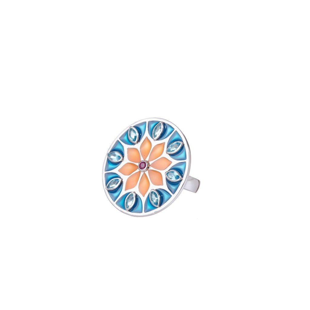 Blue Citric Sunflower Mandala Ring