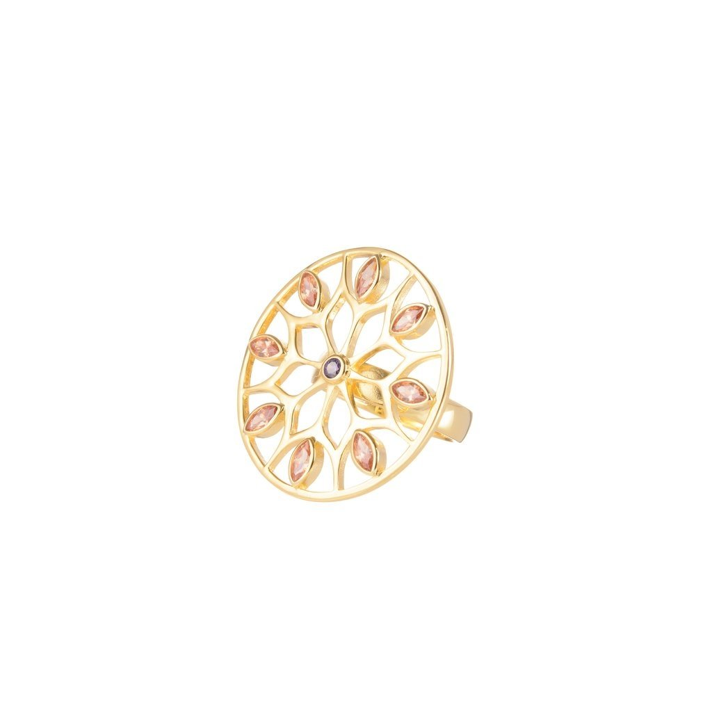 Gold Plated Net Sunflower Ring