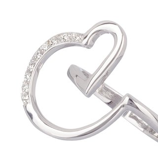 18 Kt  White Gold Heart Ring designed with Diamonds - buy online