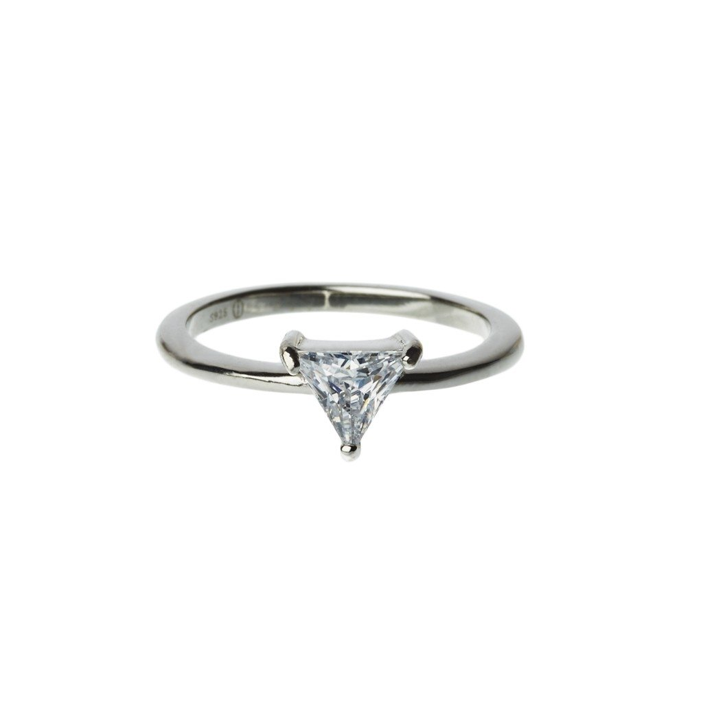 White Triangle Ring