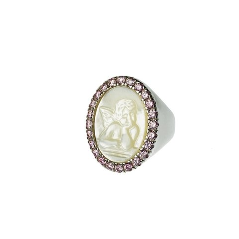 Saint Rita Ring - Sterling silver, carved mother of pearl and crystals
