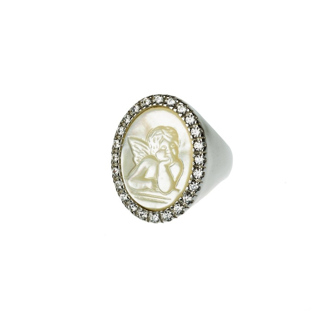 Virgin Mary Ring sterling silver, mother of pearl and crystals