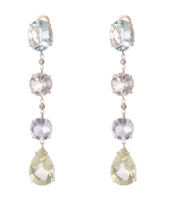18 Kt Yellow Gold Cascade Earrings designed with Diamonds