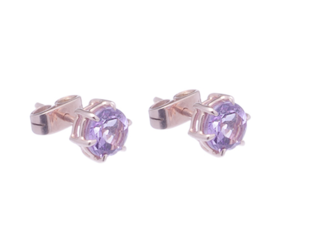 18 Kt Gold Amethyst and Rose Solitaire Earrings