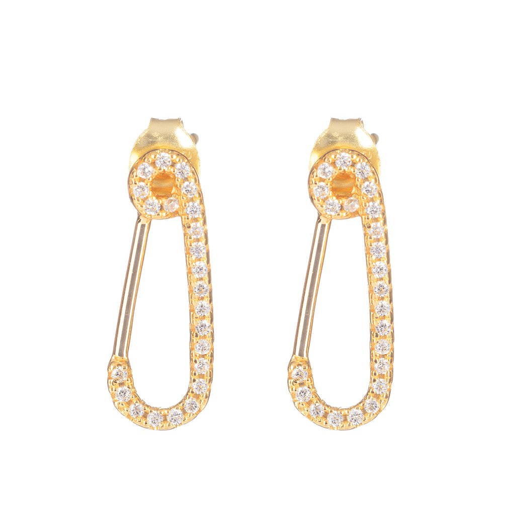 Sterling Silver Hook Earrings with yellow gold plated and pave of white crystals