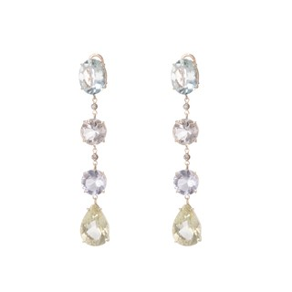 18 Kt Yellow Gold Cascade Earrings designed with Diamonds - buy online