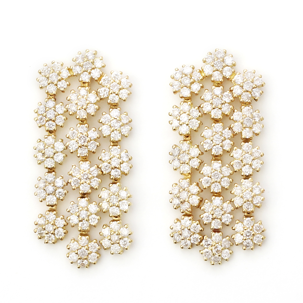 18kt yellow gold Cascading Flower Earrings Designed with Diamonds