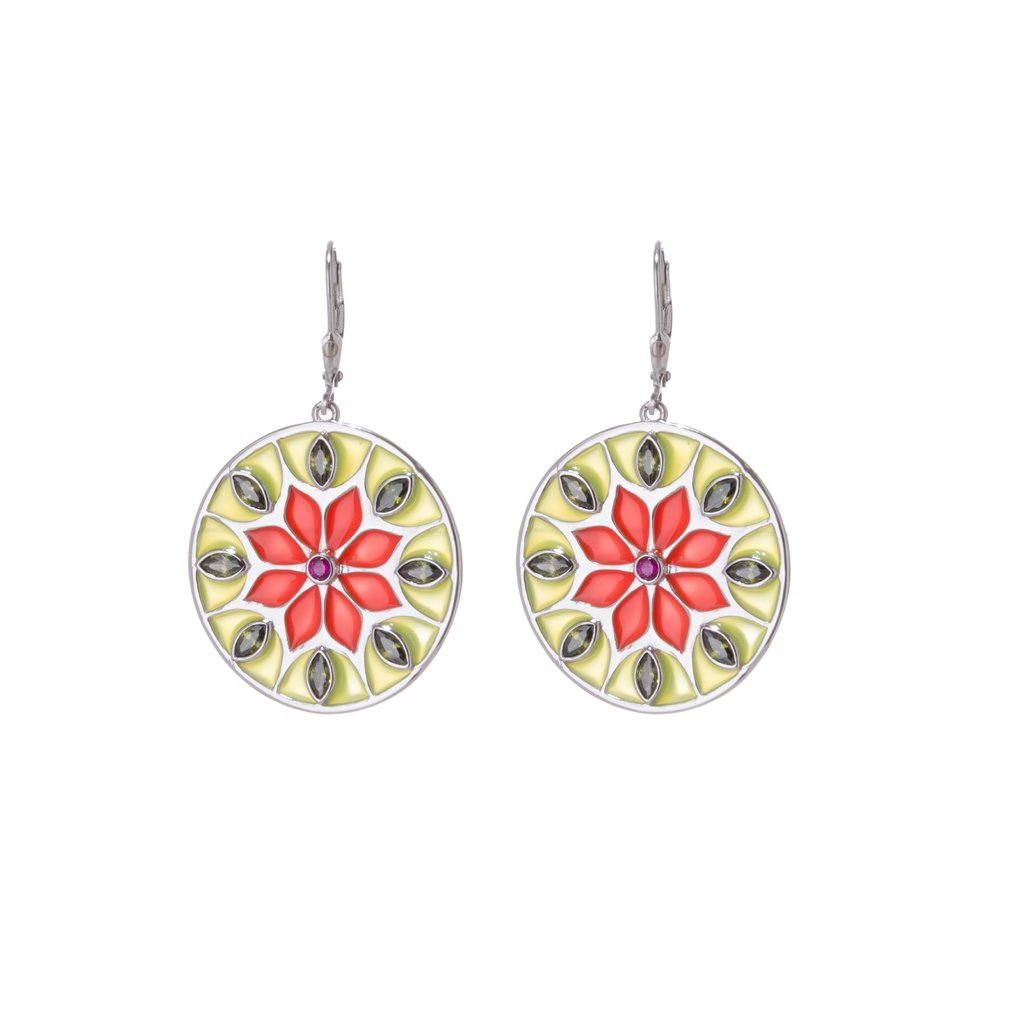 Citric Sunflower Mandala Earrings