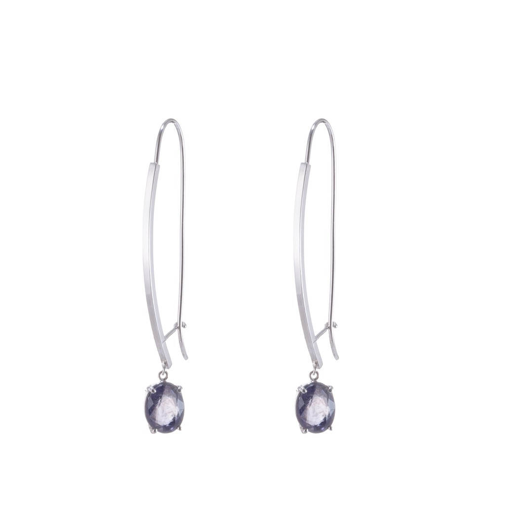 18 Kt White Gold and Tanzanite LIne Earrings - buy online