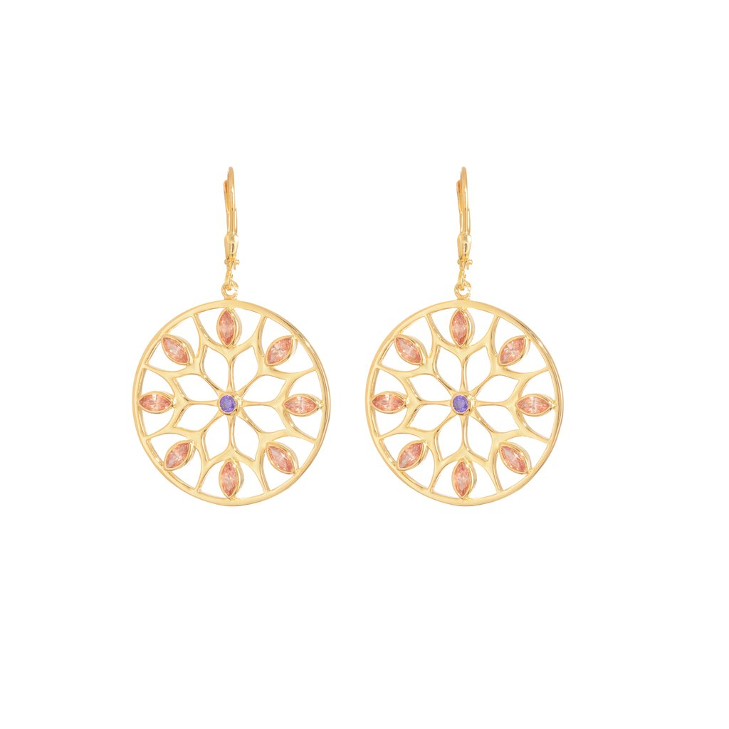 Rose Gold Net Sunflower Earrings