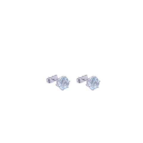 18 Kt White Gold Topaz and Celtic Solitaire Earrings
