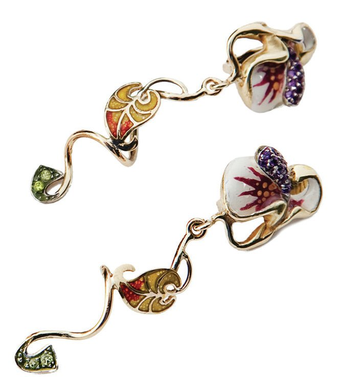 Bright Beautiful Orchids designed with 18 kt gold, enamelled with pliqué-a-jour and diamonds