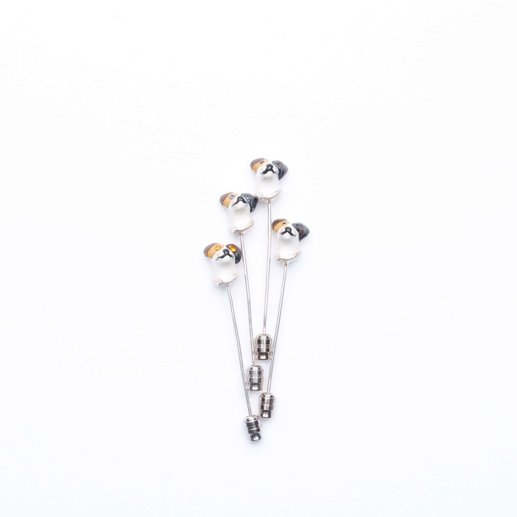 Boutonniere Jack Russell in Sterling SIlver with Crystals - buy online