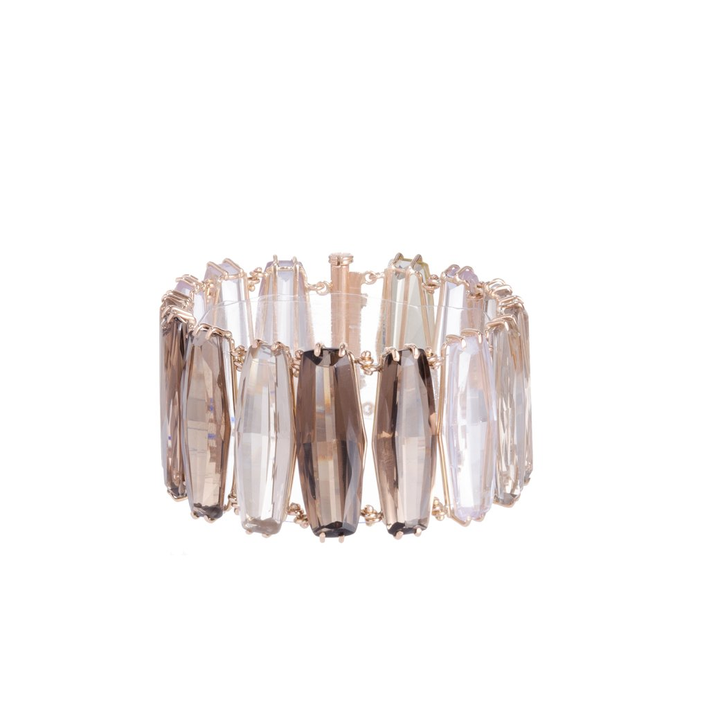 18 Kt Rose Gold Quartz Bars Bracelet Designed with Diamonds