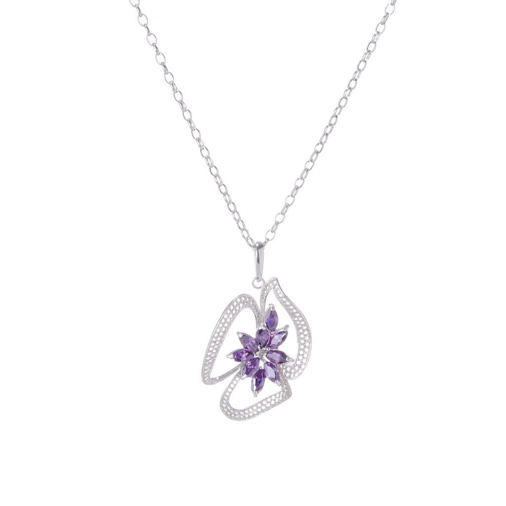 Myrtle Net Pendant designed in sterling silver with lavender crystal