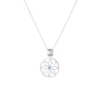Net Sunflower pendant - silver and white crystal